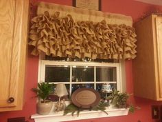Curtains  Burlap Valance Ruffled Burlap Curtains by SewManly1, $70.00