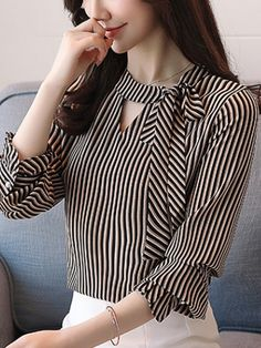 Sashes Stripe O-Neck Lantern Sleeves Women's Blouses blusas Kurti Sleeves Design, Sleeves Designs For Dresses, Neck Designs For Suits, Kurta Neck Design, Neckline Designs, Dress Neck Designs, Kurta Designs, Blouse Designs, Blouse Styles