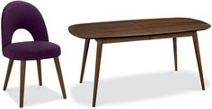 Bentley Designs Oslo Walnut Dining Set - 6-8 Extending Table with Plum Fabric Chairs