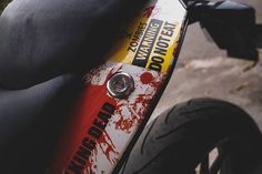 Your love for art, motorcycles, and Resident Evil series will reach the next level when you will carefully analyze this KTM Duke 200 Zombie Edition. Duke Motorcycle, Ktm Duke 200, Racing Stickers, Custom Sport Bikes, Yamaha Bikes, Background Images For Editing, Bike Photo, Mens Fashion Shoes, Chennai