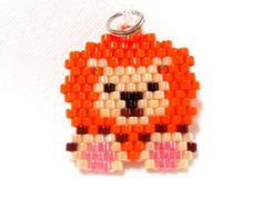 Brick Stitch Lion Charm, Beaded Jungle Animal, Handmade Craft Supply