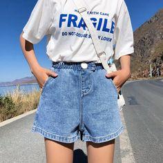 Streetwear Summer Women Denim Shorts 2019 New Arrival High Elastic Waist Wide Leg Shorts Jeans Black Blue White Pink Short Femme. Short Outfits, Summer Outfits, Cute Outfits, Vintage Shorts, Vintage Outfits, Vintage High Waisted Shorts, Retro Shorts, Streetwear Summer, Tokyo Street Fashion