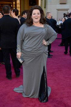 PLUS SIZE CELEBRITIES ROCK THE RED C- ARPET AT THE 85th ACADEMY AWARDS  - just too covered, why not a 3/4 sleeve in the lace??