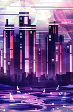 Illustrator Scott Uminga stacks hundreds layers to create vibrant landscapes and cityscapes. His geometric style resembles photography by Fong Qi Wei and City Painting, Oil Painting Abstract, City Art, City Illustration, Digital Illustration, Oil Pastel Paintings, Watercolor Paintings, Abstract City, Neon Aesthetic