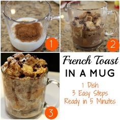 Making meals in a mug just may be my newest obsession! Me and my son, Joey, saw a video on the Food Network on how to make 3 quick and easy meals in a mug. We could hardly wait to try to make the french toast in a mug. Let's just say this recipe speaks to me …