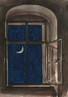 blue - window - moon and stars - Justyna Bruska (Alrauna), Starry Night, 2016 Good Night Moon, Night Night, Moon Art, Nocturne, Stars And Moon, Aesthetic Art, Night Skies, Art Inspo, Art Drawings