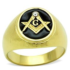 A gold Plated Stainless Steel Masonic Ring Yellow Gold Rings, Black Rings, Freemason Ring, Freemason Lodge, Men's Jewelry Rings, Jewelry Watches, Jewellery, Gold Jewelry, Mens Stainless Steel Rings