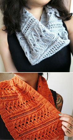 Free Knitting Pattern for 6 Row Repeat Lily Cowl - Lace infinity scarf worked a 6 row repeat in the round. Sport weight yarn. Designed by Izznit Knits. Pictured projects by cocobrownie99 and the designer