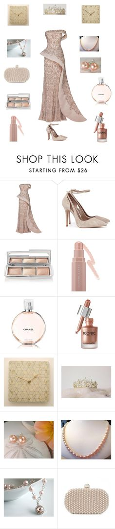 """Pink wedding dress"" by einder ❤ liked on Polyvore featuring Maison Yeya, Hourglass Cosmetics, Puma, Chanel and Santi"