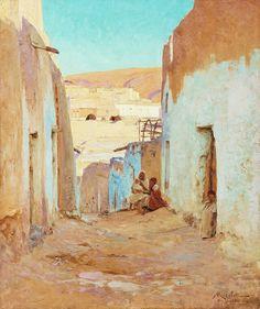 Algérie - Peintre Français  ALBERT-GABRIEL RIGOLOT ( 1862-1932), huile sur toile 1896,Titre :  Bous Saada