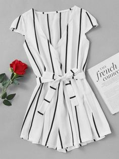 Shop Vertical Striped Surplice Romper With Belt online. SheIn offers Vertical Striped Surplice Romper With Belt & more to fit your fashionable needs. Summer Outfits, Casual Outfits, Fashion Outfits, Women's Casual, Style Fashion, Fashion Trends, Look Retro, Striped Jumpsuit, Playsuits