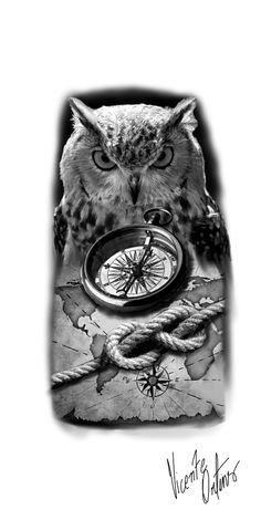 Compass Tattoo Drawing, Owl Tattoo Drawings, Tattoo Sketches, Body Art Tattoos, Girl Tattoos, Sleeve Tattoos, Owl Tattoo Design, Tattoo Designs, Bussola Tattoo