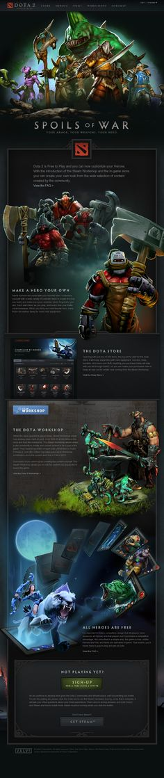 Dota 2 - Spoils of War Website Design Layout, Web Layout, Layout Design, Game Portal, Desktop Design, Gaming Banner, Game Ui Design, Joomla Templates, Fun Illustration