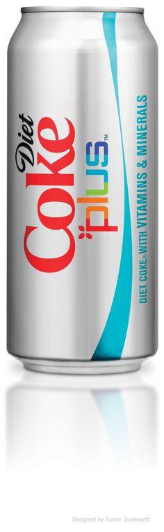 Diet Coke Plus slim can Design by Turner Duckworth