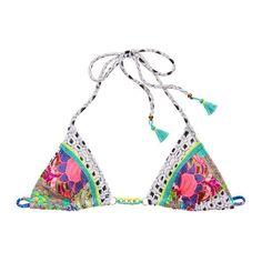 Victoria's Secret Embroidered Triangle Top ($43) ❤ liked on Polyvore featuring swimwear, bikinis, bikini tops, bikini, halter bikini, triangle swimwear, neck ties, bikini top and chain bikini