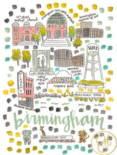 Birmingham Map Print by EvelynHenson on Etsy