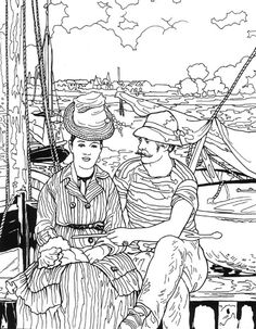 Painter Manet - Art coloring pages Free Coloring Pages, Coloring Books, Impressionist Paintings, Elementary Art, Line Art, Art Lessons, Art History, Stencil, Art Projects