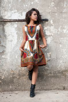 Knielanges Kleid mit afrikanischem Muster für den Sommer / knee-length dress with african pattern made by KOKOworld via DaWanda.com