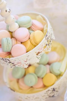 pretty little macaroons from a shabby chic 1st birthday party