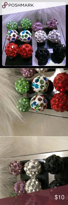 6 Pair Disco Ball Earrings 6 Pair Disco Ball Earrings  Same Day Shipping Jewelry Earrings