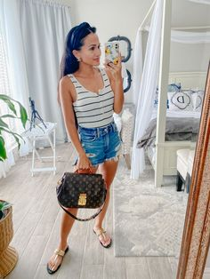 Louis Vuitton Eden MM, STRIPED BODYSUIT, Abercrombie shorts, Gucci Sandals, canopy bed, white bed, white bedroom White Bedding, White Bedroom, Striped Bodysuit, My Outfit, Canopy, Dawn, Your Style, About Me Blog, Gucci