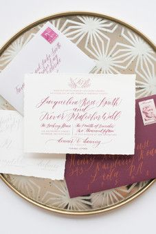 burgundy calligraphy invitation suite