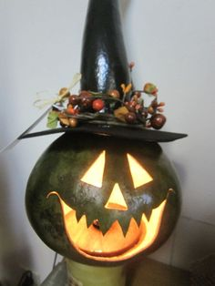 halloween witch gourds | Lighted Witch Gourd by lindajdesigns on Etsy, $40.00