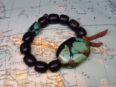 EARTH & SEA JEWELRY - TURQUOISE, KAMAGONG WOOD, LEATHER