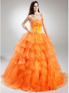 Ball-Gown Strapless Floor-Length Organza Satin Quinceanera Dress With Lace Beading (021015848)