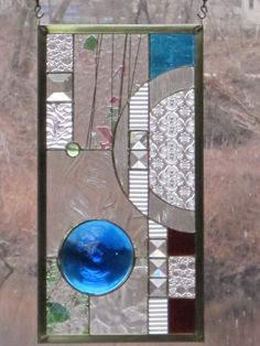 Geometric Stained Glass Panel by RenaissanceGlass on Etsy