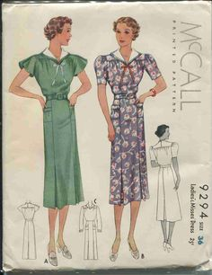 Vintage Sewing Pattern McCall # 9294 ERA: 1930s SKU - 70005 -