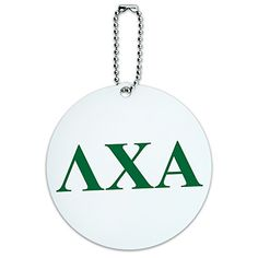 round luggage id tag card suitcase carryon lambda chi alpha fraternity greek letters green continue