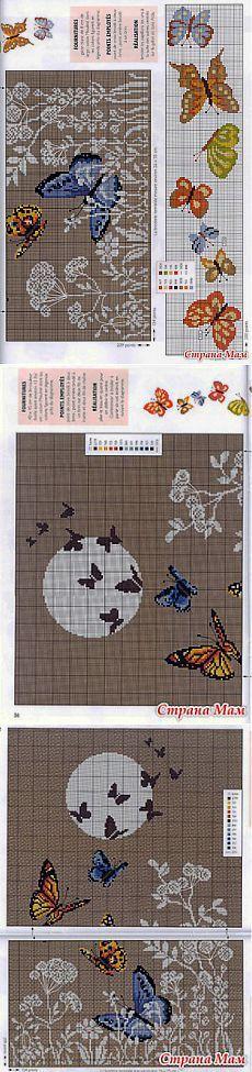 *Цветы и бабочки (схема для рюкзака) - Вышивка и все о ней - Страна Мам