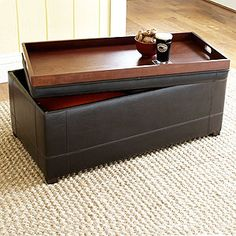 Love the dual functionality of this ottoman with its flip-over tray. Storage solution, for sure! Brown Owen Bi-Cast Leather Ottoman #WorldMarket