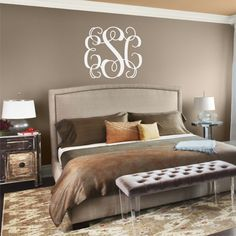 Classic Intertwined Monogram Vinyl Wall Decal by back40life, $26.00 After I paint the wall behind the bed.