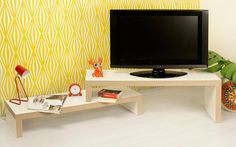 Cliff, Modern, Extending TemaHome TV Unit In Pure White Finish with a Plywood Edge Detail Tv Design, Interior Design, Plywood Edge, Living Spaces, Living Room, Italian Furniture, Tv Unit, Decoration, Contemporary Furniture
