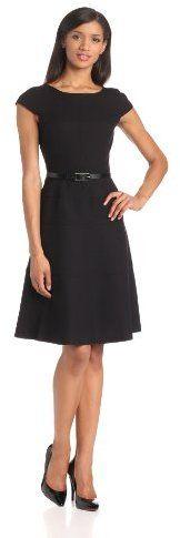 Anne Klein Women's Cap Sleeve Scoopneck Solid Dress - little black dress