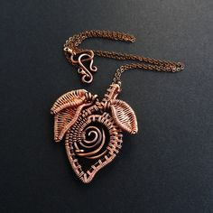 Flower Bud & Leaves Woven Copper Necklace Wire by sparkflight
