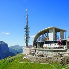 The new top station for the Dantercepies gondola lift, Wolkenstein in Gröden (Selva di Val Gardena), South Tyrol, Italy. Gondola Lift, Plaster Texture, South Tyrol, Wind Turbine, Curves, Engineering, Italy, Top, Full Figured