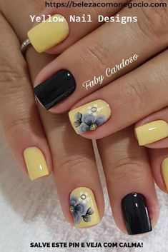 Yellow Nails Design, Yellow Nail Art, Pedicure Designs, Gel Nail Designs, Gel Pedicure, Cross Nail Designs, Cute Nails, Pretty Nails, Es Nails
