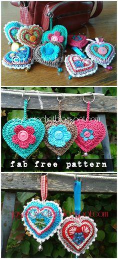 Crochet 3D Heart Amigurumi Free Patterns