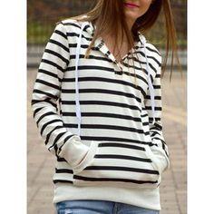 Fashionable Women's Striped Long Sleeves Hoodie