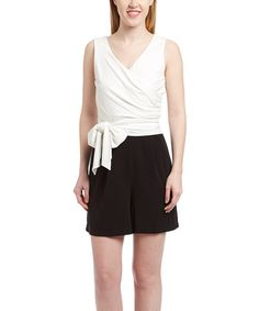 Look at this #zulilyfind! Ivory & Black Color Block Surplice Dress #zulilyfinds