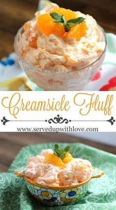 Fluff Creamsicle Fluff recipe from Served Up With Love. The perfect salad to take to any potluck or picnic this summer.Creamsicle Fluff recipe from Served Up With Love. The perfect salad to take to any potluck or picnic this summer. Fluff Desserts, Dessert Salads, Jello Recipes, Fruit Salad Recipes, Köstliche Desserts, Delicious Desserts, Yummy Food, Easy Recipes, Fruit Snacks