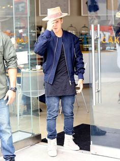 Justin Bieber Wears Fear of God Jacket, Kanye West x Adidas Yeezy Boost Sneakers and Nick Fouquet Hat | UpscaleHype