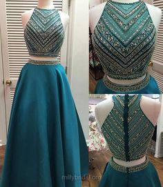 Two Piece Prom Dresses, Green Prom Dresses, Long Formal Dresses, Sexy Evening Party Gowns