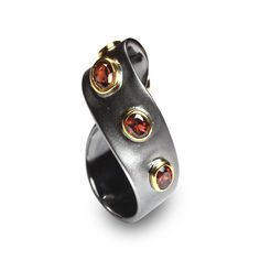 The online boutique of creative jewellery G.Kabirski | 100779 К Sterling silver, garnet, rhodium gold