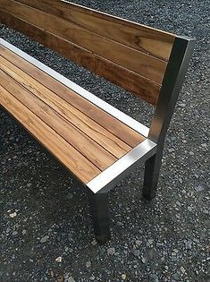 Urban Furniture, Industrial Furniture, Garden Furniture, Wood Furniture, Furniture Design, Outdoor Furniture, Outdoor Decor, Metal And Wood Bench, Metal Table Frame