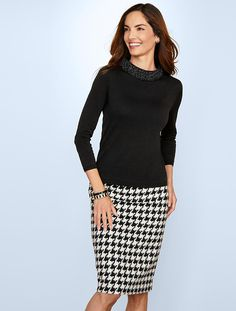Snowy Houndstooth Pencil Skirt - Talbots