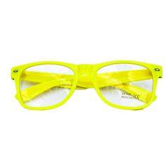 58d7bafe9a Nerdbrille Hornbrille 80s Retro Nerd Streber Brille - gelb